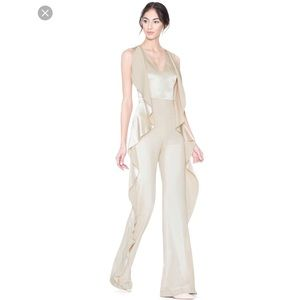 Alice + Olivia Sarandon Side-Ruffle Satin Jumpsuit